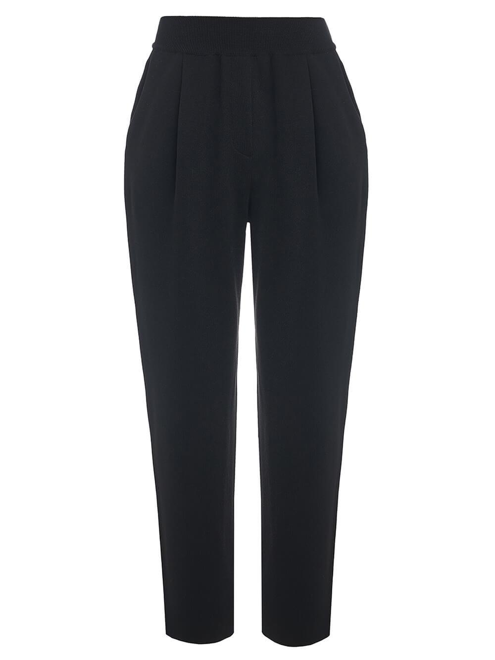 Женские брюки черного цвета из вискозы - фото 1