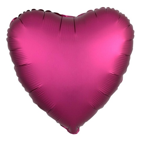 Шар сердце гранатовый сатин, 45 см