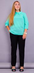 Кортні. Ніжна жіноча блузка великих розмірів. М'ята.