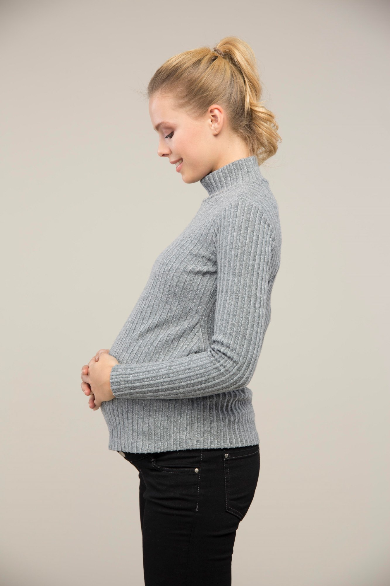 Водолазка для беременных 08992 серый