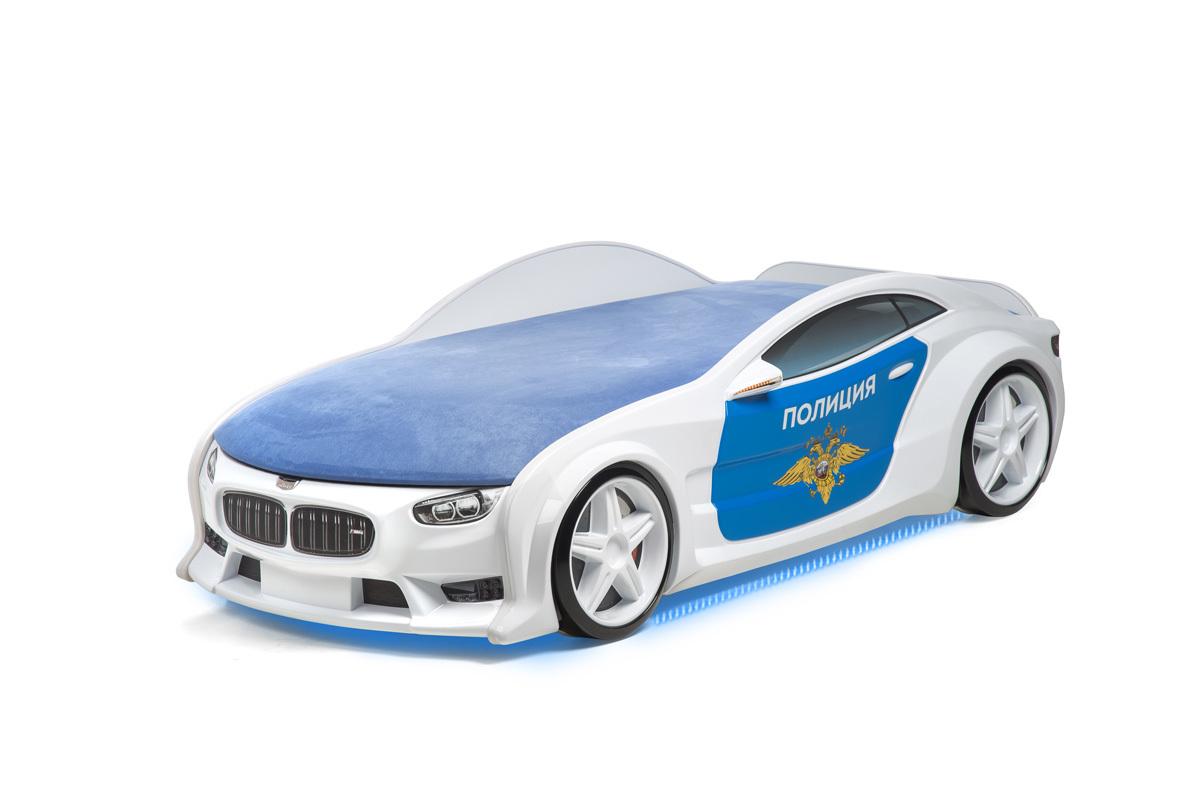 """Кровать-машина объемная NEO """"БМВ"""" полиция"""