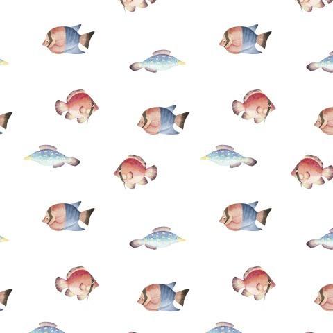 разноцветные акварельные рыбки