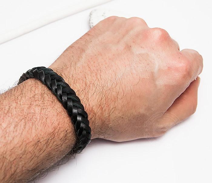 BM451-1 Плетеный браслет из натуральной кожи черного цвета (19 см) фото 04
