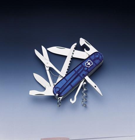 Нож Victorinox Huntsman, 91 мм, 15 функций, полупрозрачный синий123