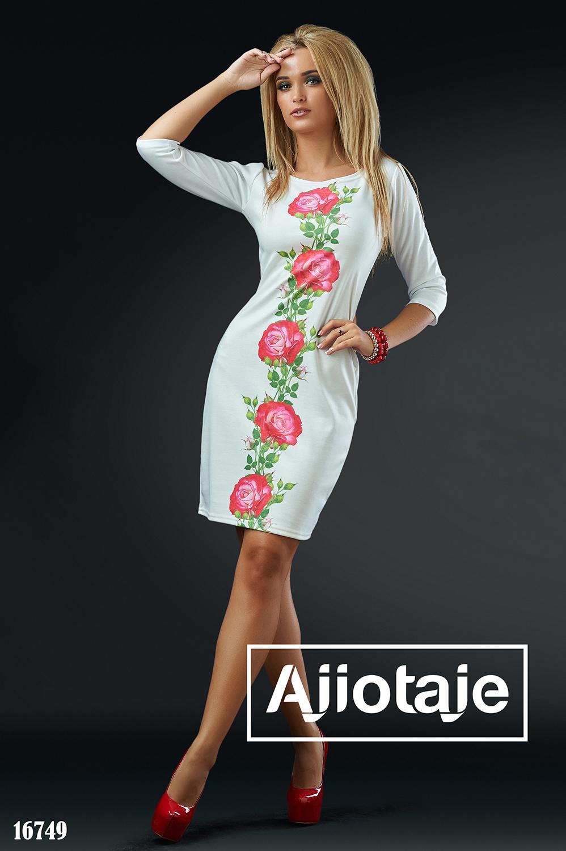 Платье миди белого цвета с розочками