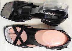 Летние босоножки натуральная кожа Evromoda 166606 Black Leather.
