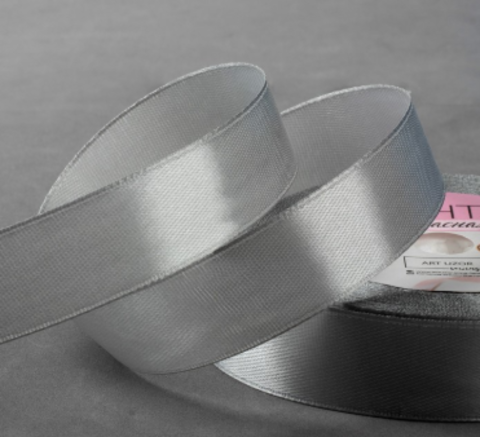 Лента атласная,цвет серебряный,20мм*23±1м