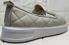 Бежевые слипоны туфли на невысокой платформе женские Alpino 21YA-Y2859 Cream.