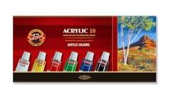 Краски акриловые художественные в тюбиках 16мл, 10 цветов