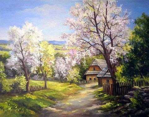 Картина раскраска по номерам 50x65 Дорога к деревенским домикам