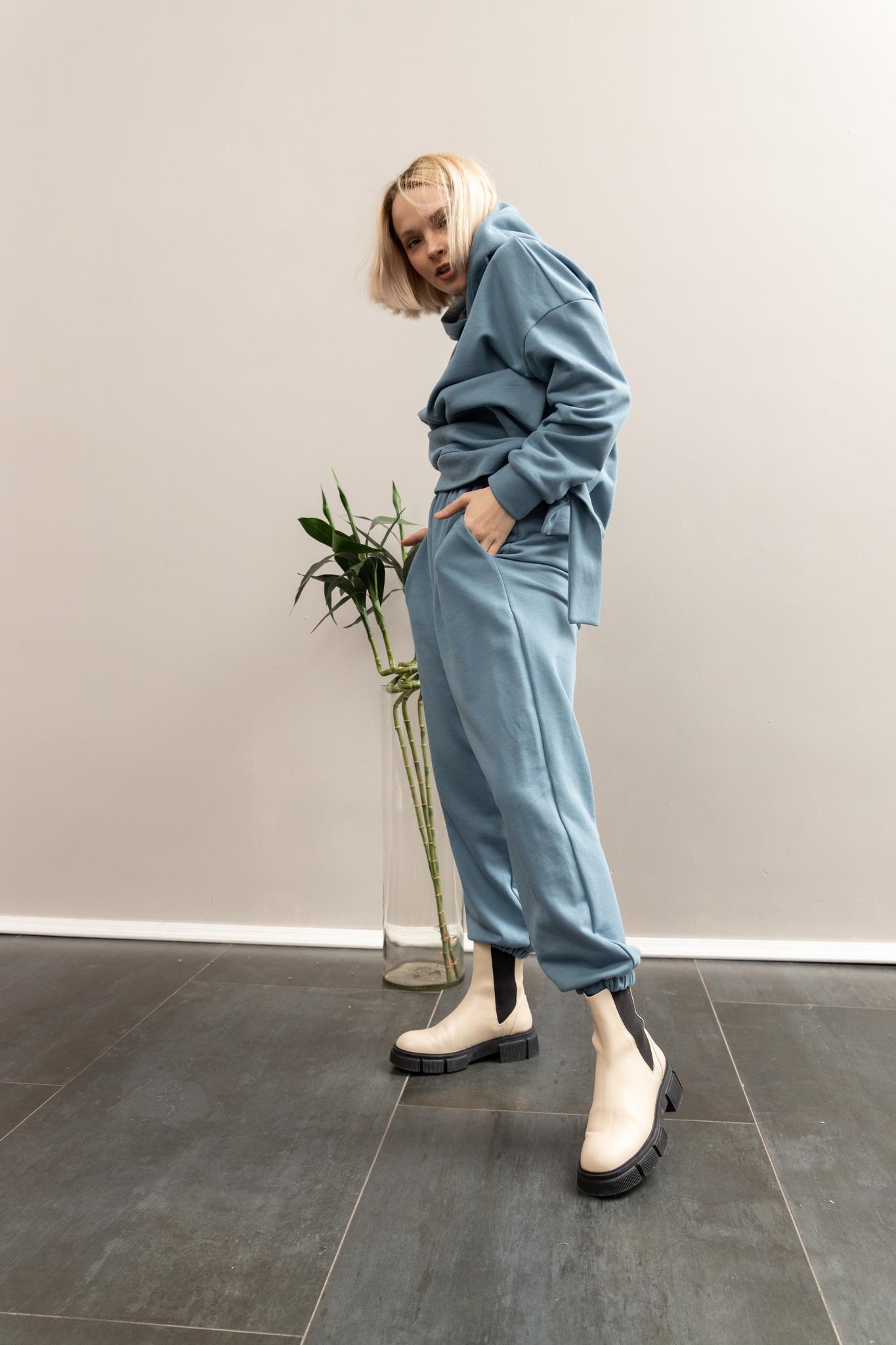 Брюки из футера в цвете джинсы