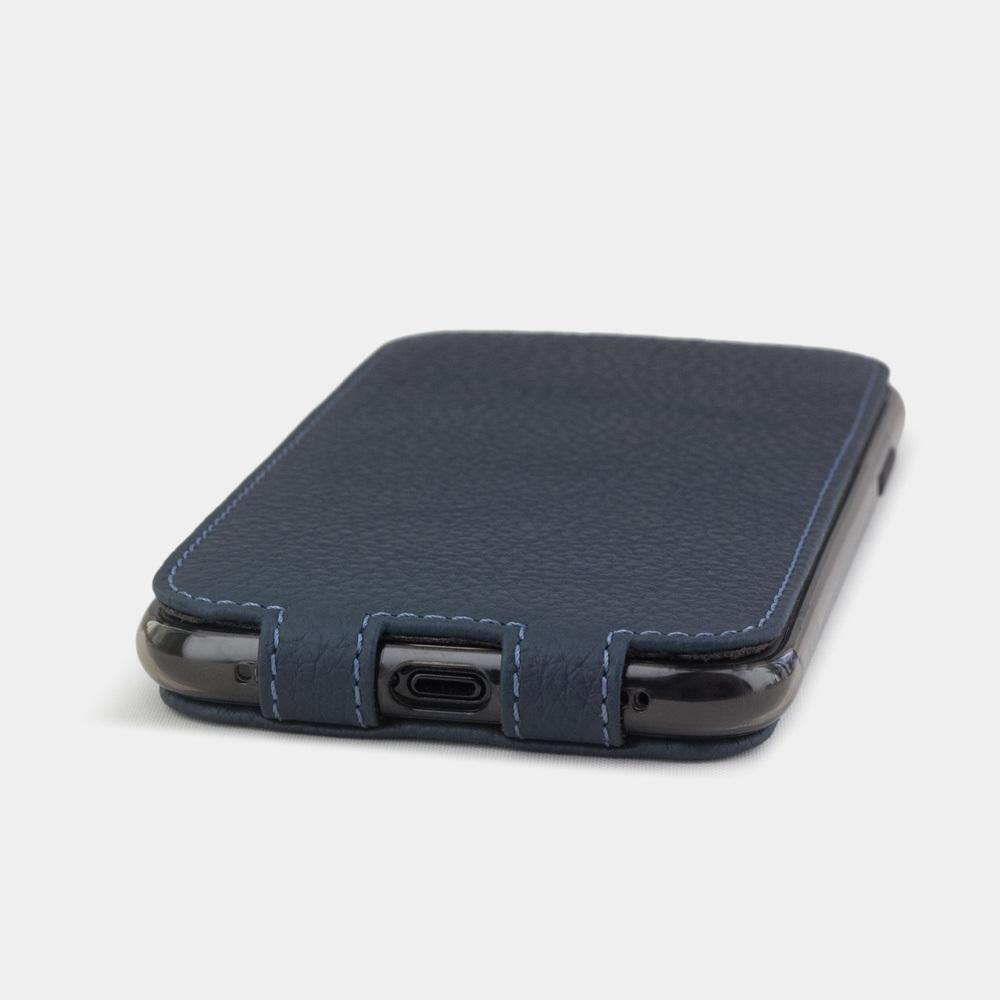 Чехол для iPhone XR из натуральной кожи теленка, цвета синий мат