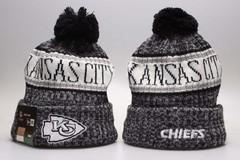 Шерстяная вязаная шапка с помпоном и с логотипом НФЛ Канзас-Сити Чифс (NFL Kansas City Chiefs)