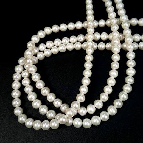 Жемчуг белый АА натуральный шар 6,5-7 мм