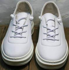 Белые кожаные кеды женские натуральная кожа Rozen M-520 All Black.