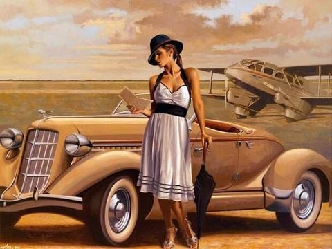 Алмазная Мозаика 40x50 Девушка и ретро автомобиль (арт. GA74225 )
