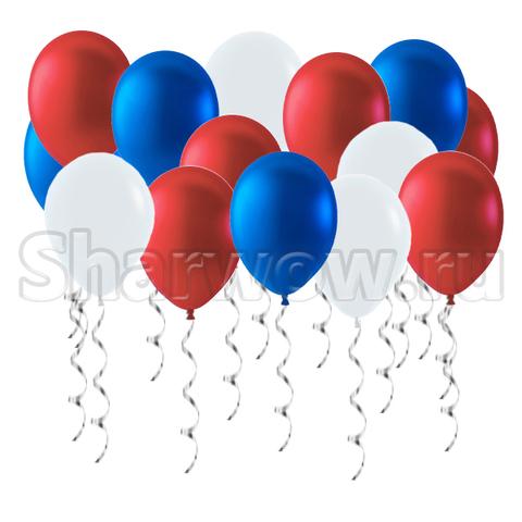 Воздушные шары под потолок Российский триколор - металлик