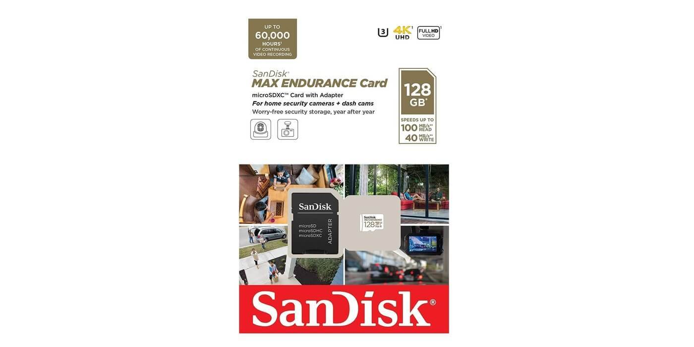 Карта памяти microSDXC 128GB SanDisk Class 10 UHS-I U3 V30 Max Endurance Video Monitoring (SD адаптер)