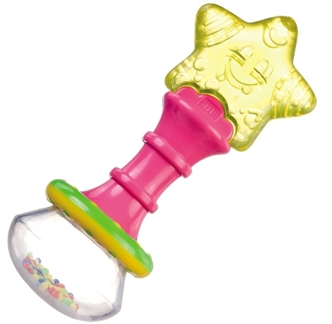 Прорезыватель водный охлаждающий с погремушкой - волшебная палочка, 0+ (розовый)