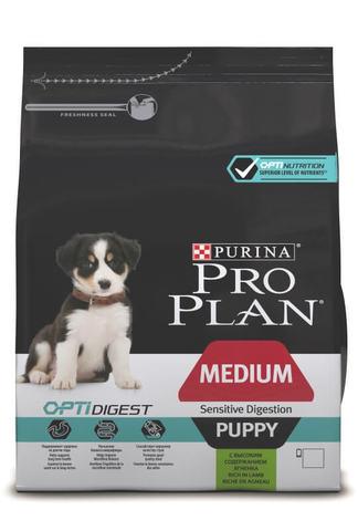 Сухой корм Purina Pro Plan для щенков средних пород с чувствительным пищеварением, ягнёнок с рисом