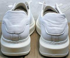 Стильные кеды женские белые кожаные на высокой подошве Rozen M-520 All White.