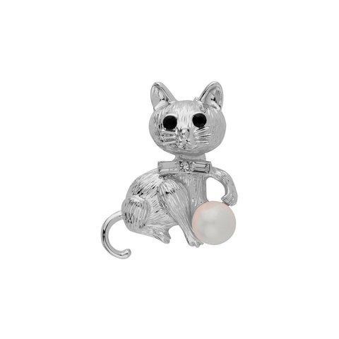 Брошь Кошка с жемчужиной FAN-07051.1 BW/S
