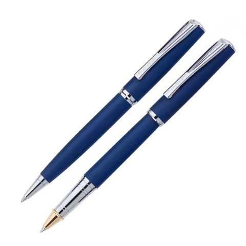 Набор  Pierre Cardin PEN&PEN: ручка шариковая + роллер. Корпус - латунь и матовое порошковое покрытие. Отделка и детали дизайна - сталь, хром. Цвет - синий. Упаковка Е.