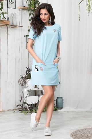 Короткое летнее платье с апликацией, в голубую полоску 1