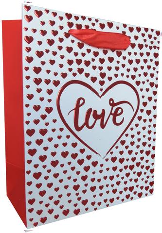 Пакет подарочный, Love, Множество сердец, Красный, Металлик, 23*18*10 см