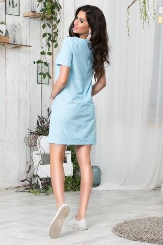 Короткое летнее платье с апликацией, в голубую полоску 2