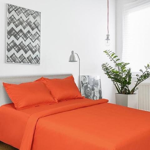 1.5-Спальное однотонное постельное белье мако-сатин оранжевый
