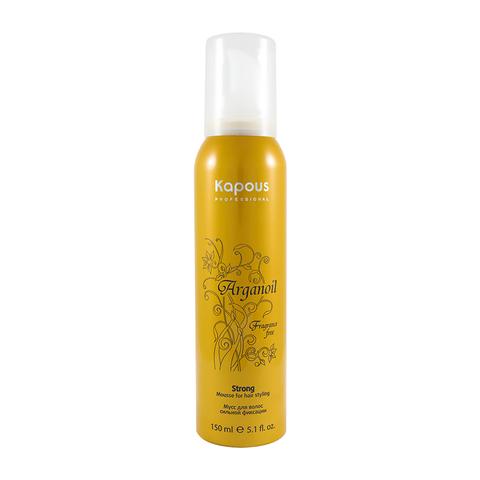 Мусс Arganoil  Kapous для укладки волос сильной фиксации с маслом арганы, 150 ml.