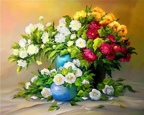 Алмазная Мозаика 40x50 Разноцветные букеты в синих вазах (арт. GA73336)