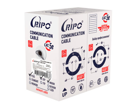 Витая пара UTP 4 CAT5E 24AWG Cu Ripo Plus, 305м., Fluke test. PVC