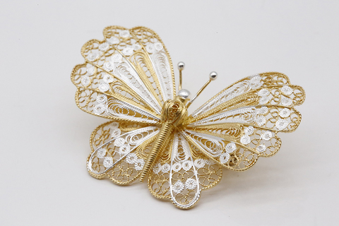 Брошь филигранная Бабочка из серебра 3006200040
