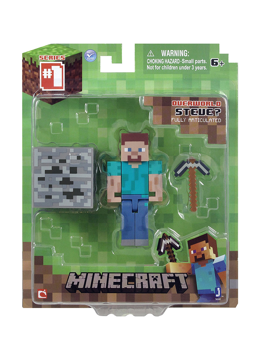 Фигурка Minecraft Steve Игрок с аксессуарами пластик 8см