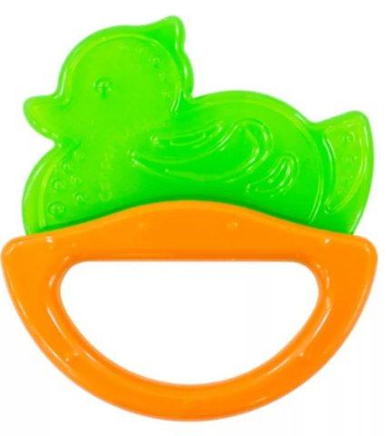 Погремушка с эластичным прорезывателем, 0+ (зеленый, форма: уточка)