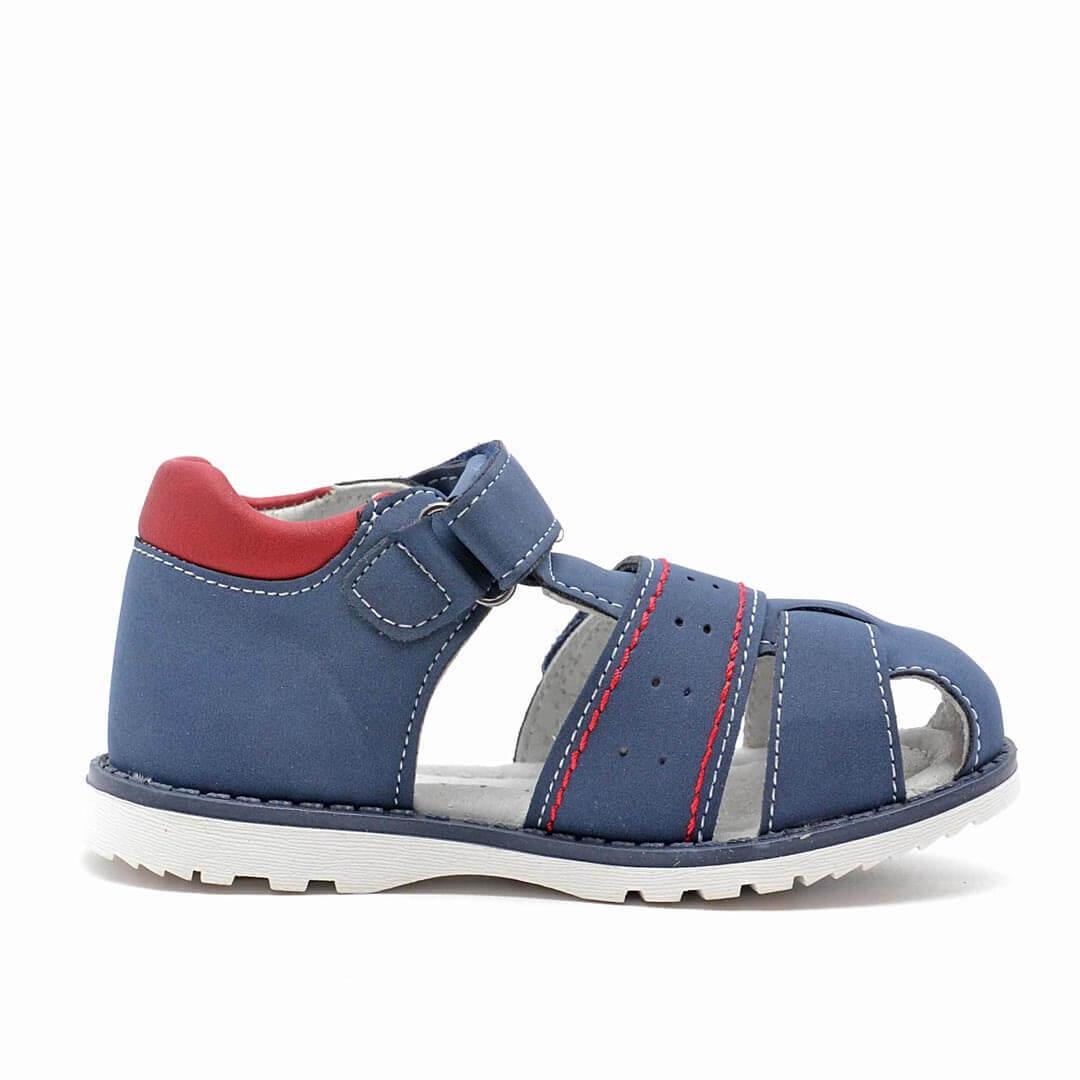 Кожаные анатомические сандалики с каблуком Томаса Nordman Boom синие