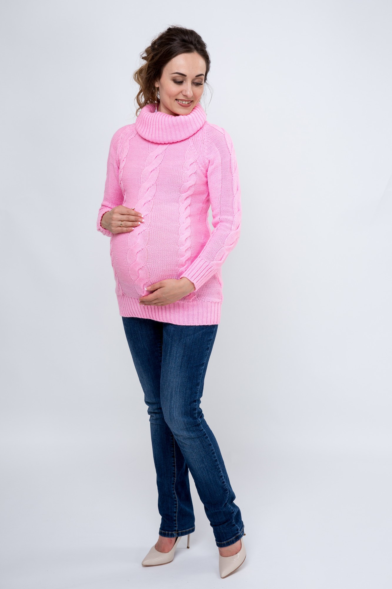 Свитер для беременных 09068 розовый