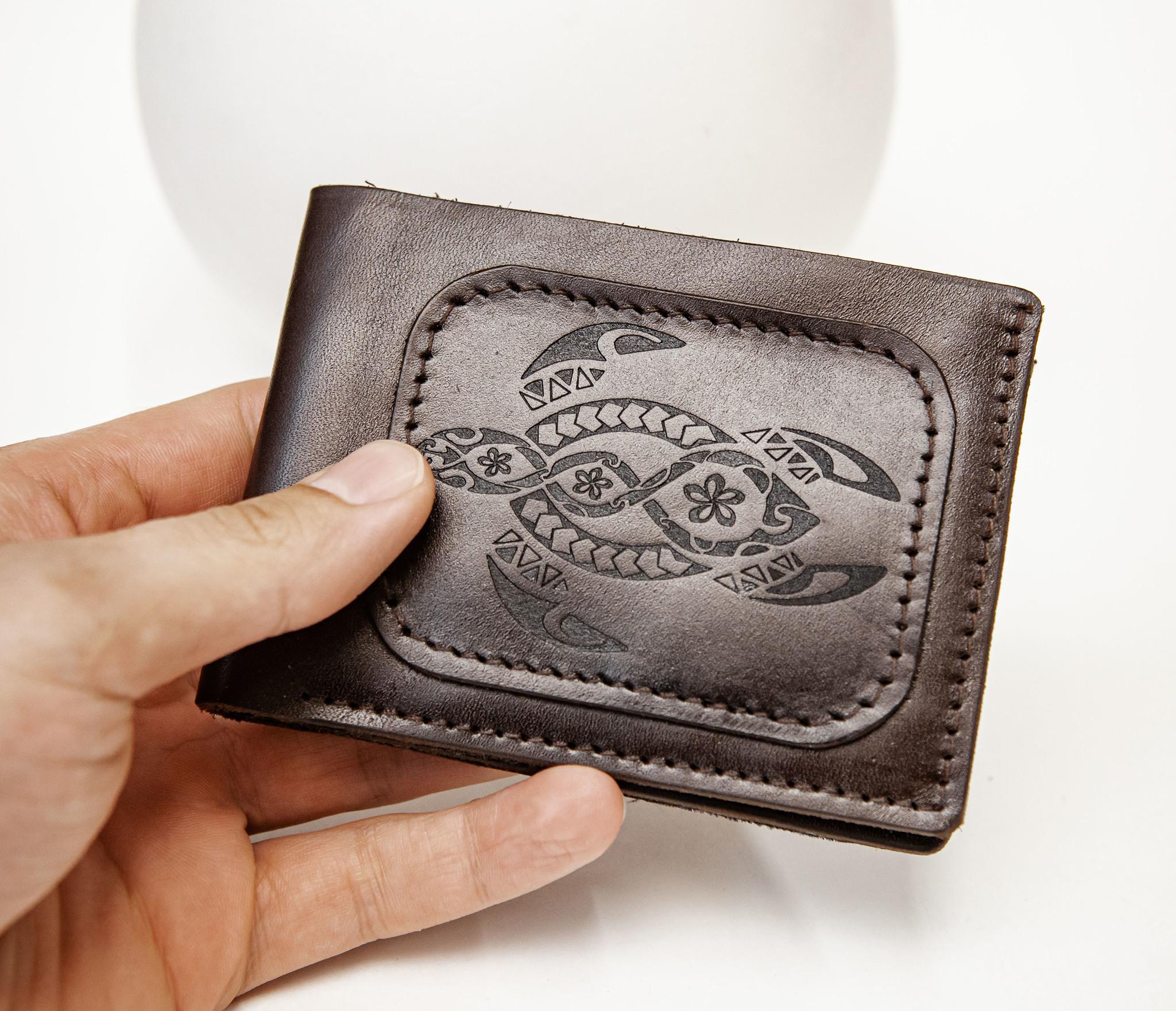 WB159 Мужской кошелек с черепахой в полинезийском стиле, «Boroda Design» фото 07