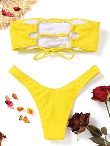 купальник раздельный бандо желтый в рубчик на шнуровке сзади 2