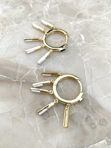 Серьги Трубочки из позолоченного серебра с белой эмалью