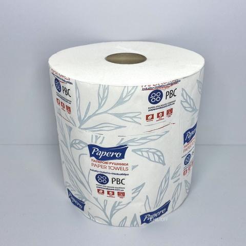 Полотенце бумажное Papero 2 сл. 100 м влаговпитывающие белое (RL029)