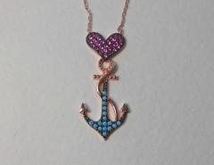 """Ожерелье """"Люблю море"""" с бирюзой и рубинами"""