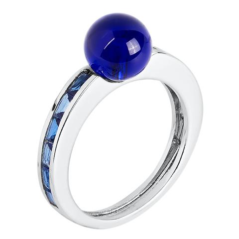 Кольцо из серебра с корунд сапфиром Арт.1084кс