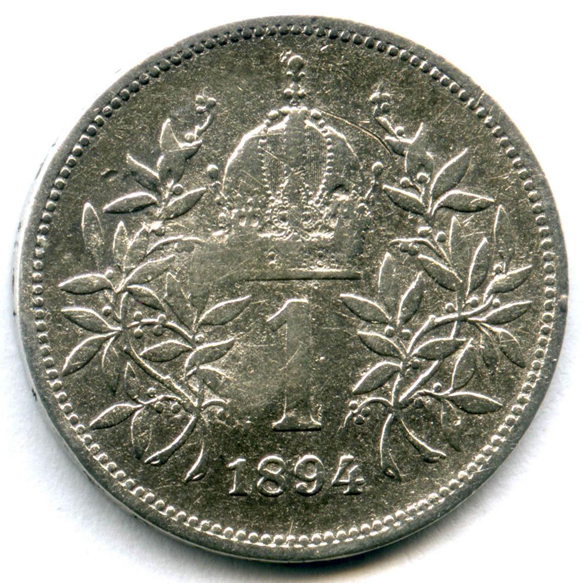 1 крона 1894. Австро-Венгрия VF-