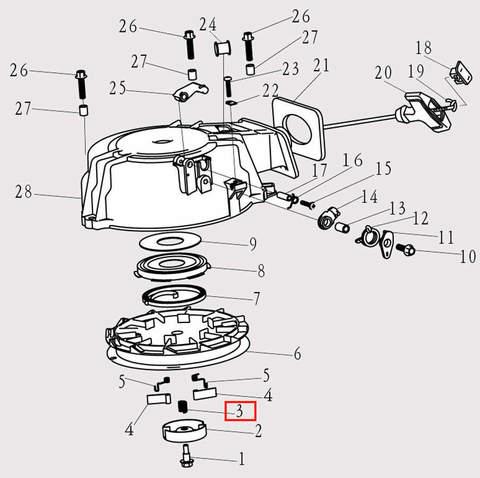 Фрикционная пружина для лодочного мотора F9.8 Sea-PRO (8-3)