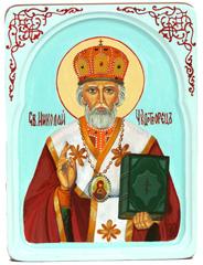 Рукописная икона Святитель Николай, архиепископ Мир Ликийский (Мирликийский), чудотворец на кипарисе 20х15см в резном киоте