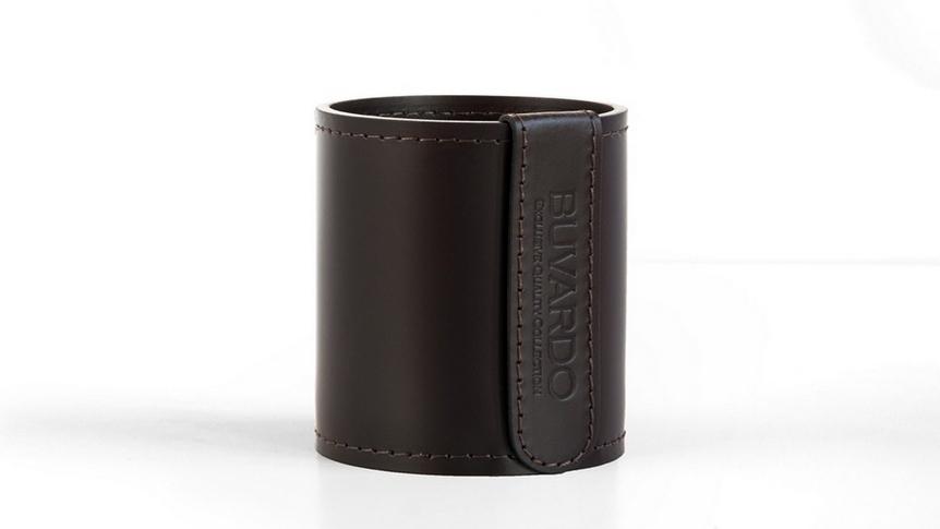 Стакан артикул Н10 Бизнес в коже Cuoietto цвет темно-коричневый шоколад.