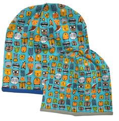 Взрослая и детская шапочки с принтом Зоопарк